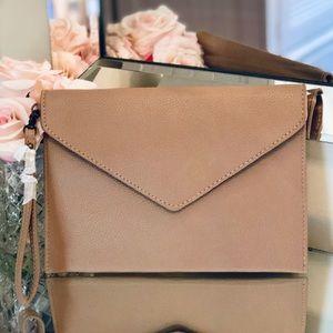 Tan Envelope Wristlet / Clutch